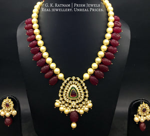 Traditional Gold and Diamond Polki rhodo-center Pendant Set with pearls and red quartz tumbles - G. K. Ratnam