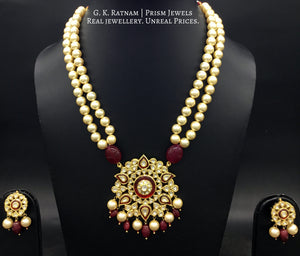 Traditional Gold and Diamond Polki star-shaped Pendant Set with double strands of shiny pearls - gold diamond polki kundan meena jadau jewellery