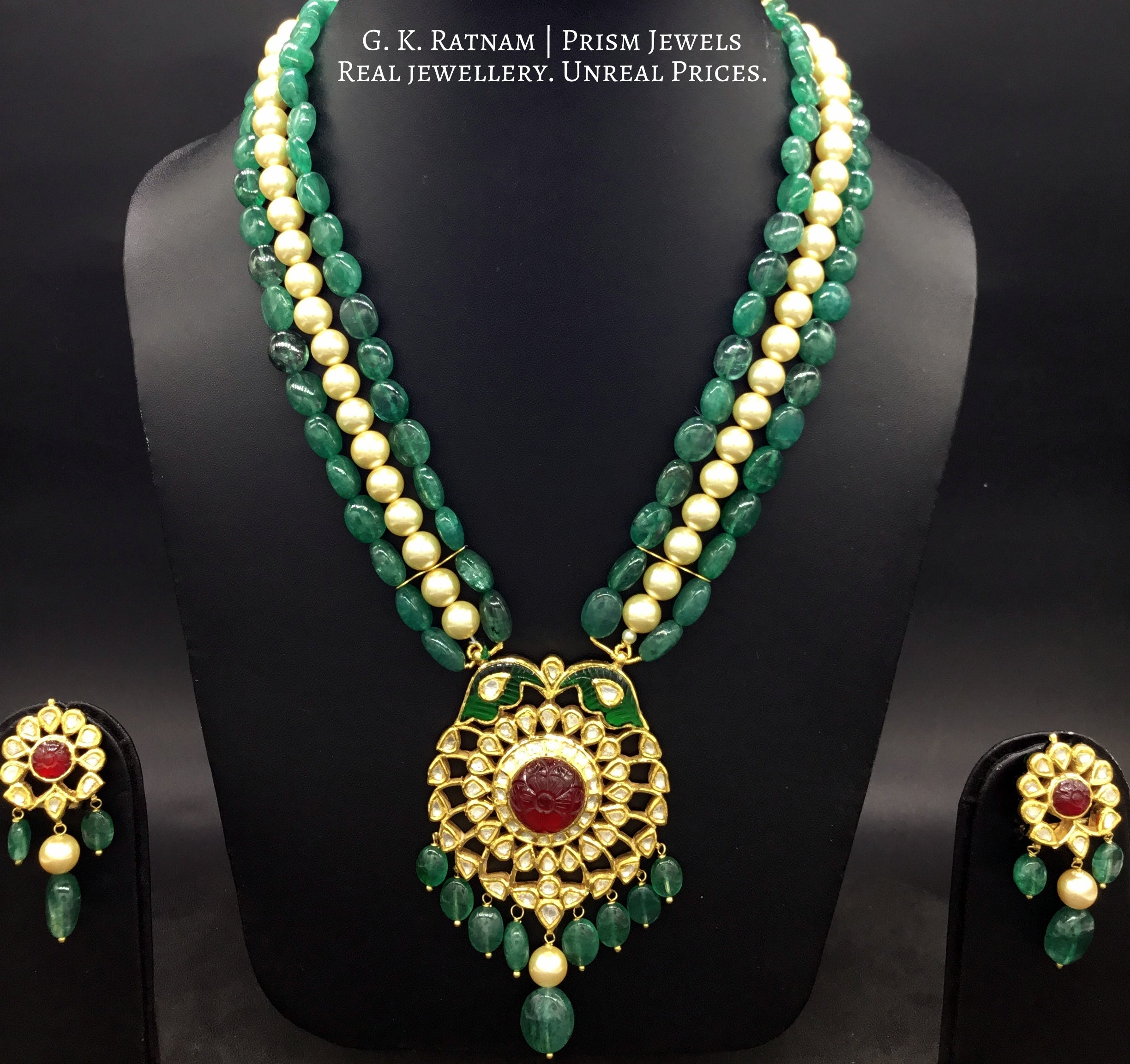 Traditional Gold and Diamond Polki carved-red-center Pendant Set with emerald-grade beryls and pearls - gold diamond polki kundan meena jadau jewellery