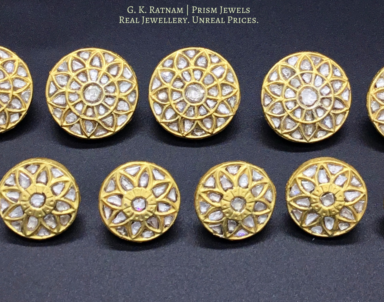 23k Gold and Diamond Polki all-white Sherwani Buttons for Men - gold diamond polki kundan meena jadau jewellery