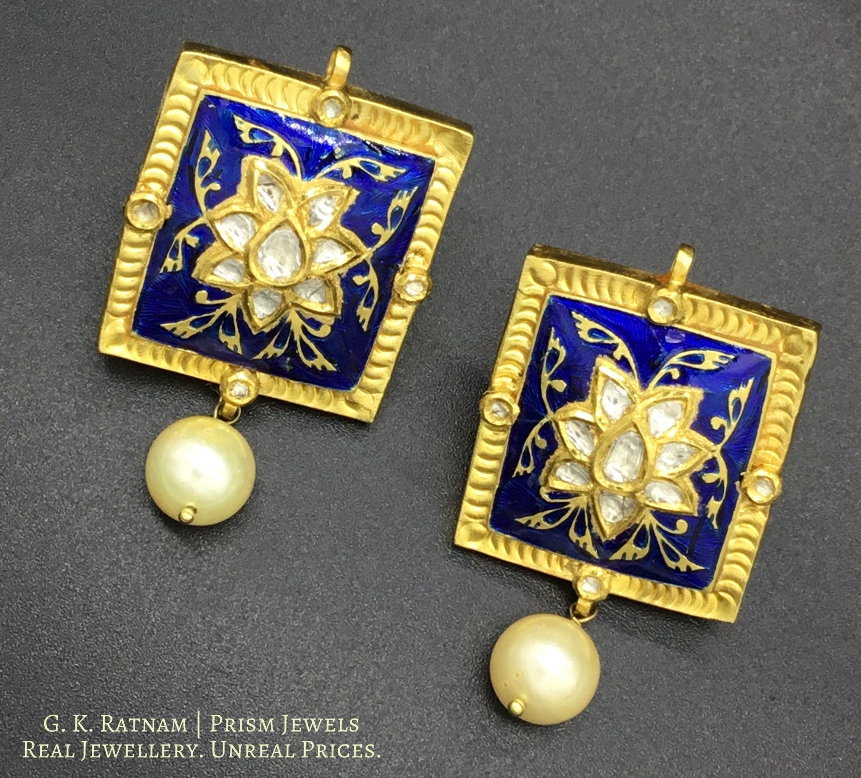 18k Gold and Diamond Polki square Pendant Set with soothing royal blue meenakari and uncut tukdis linked together - G. K. Ratnam