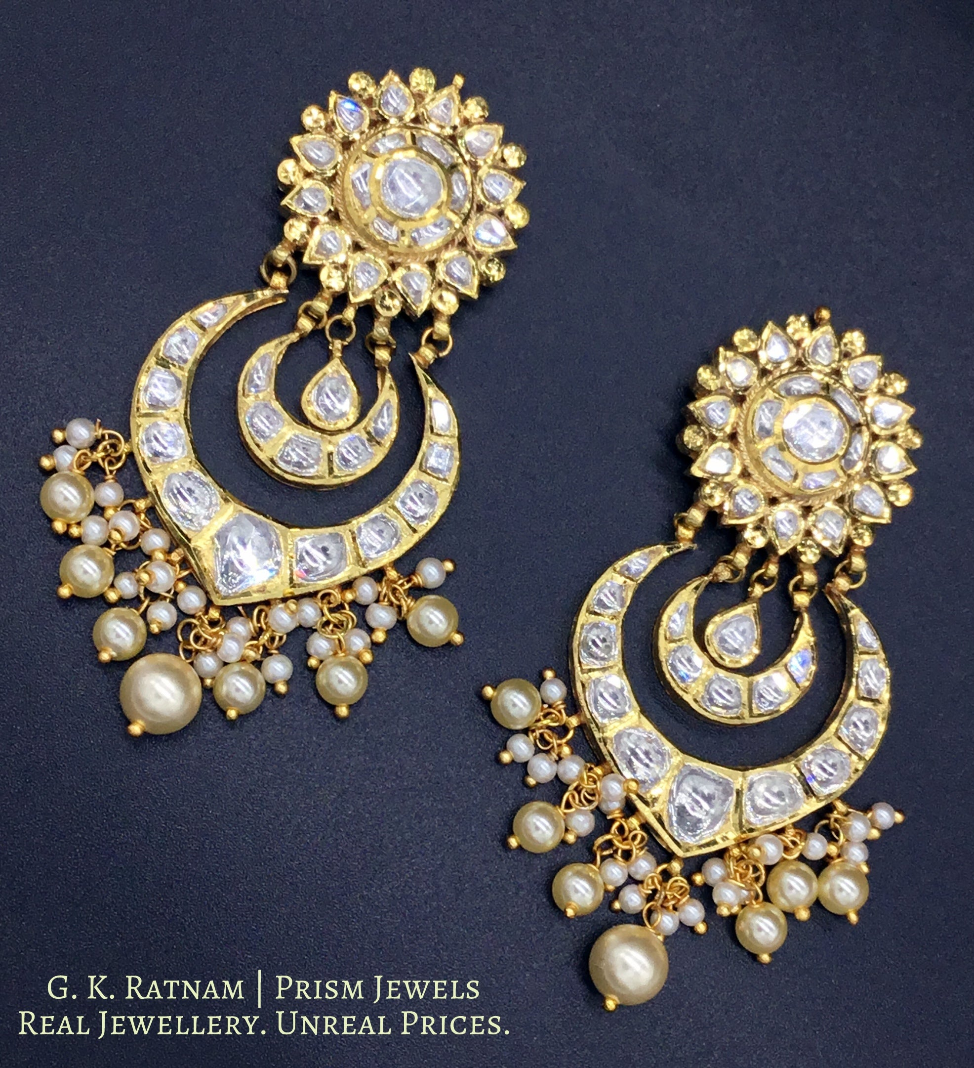 18k Gold and Diamond Polki Chand Bali Earring pair with multiple V-shaped chands - G. K. Ratnam