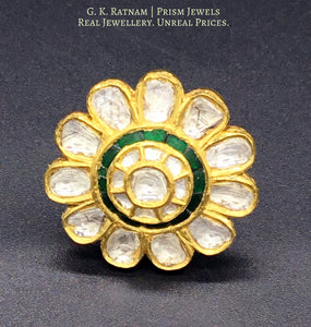 18k Gold and Diamond Polki floral cocktail Ring with emerald green stones - G. K. Ratnam