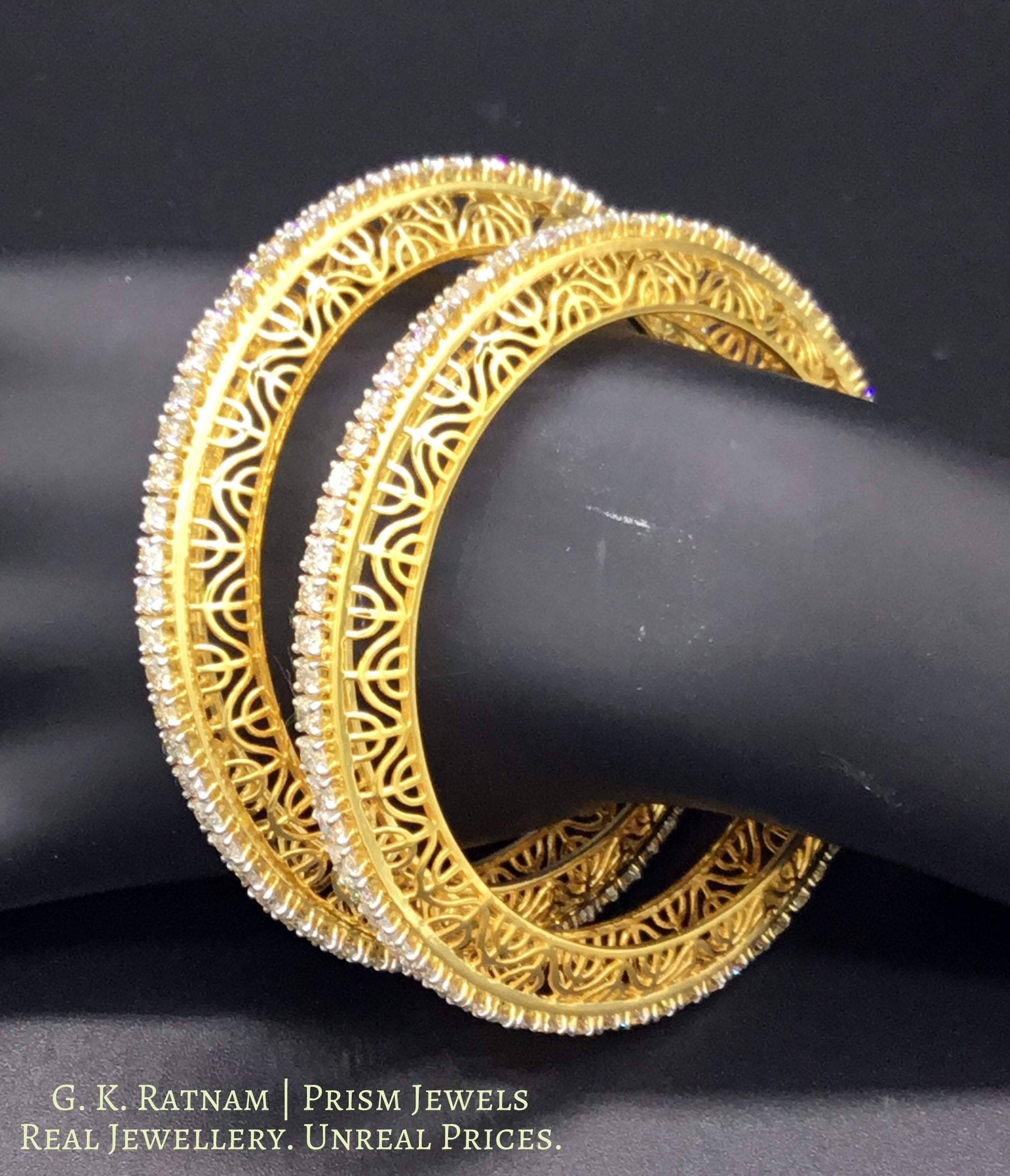 18k Gold and Diamond Bangle Pair with 12 cent diamonds - gold diamond polki kundan meena jadau jewellery