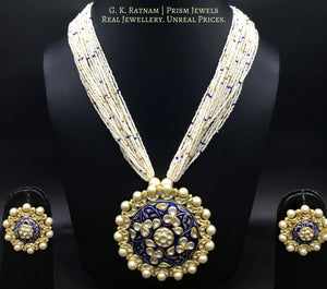 18k Gold and Diamond Polki Round Pendant Set with Navy Blue Enamelling - gold diamond polki kundan meena jadau jewellery