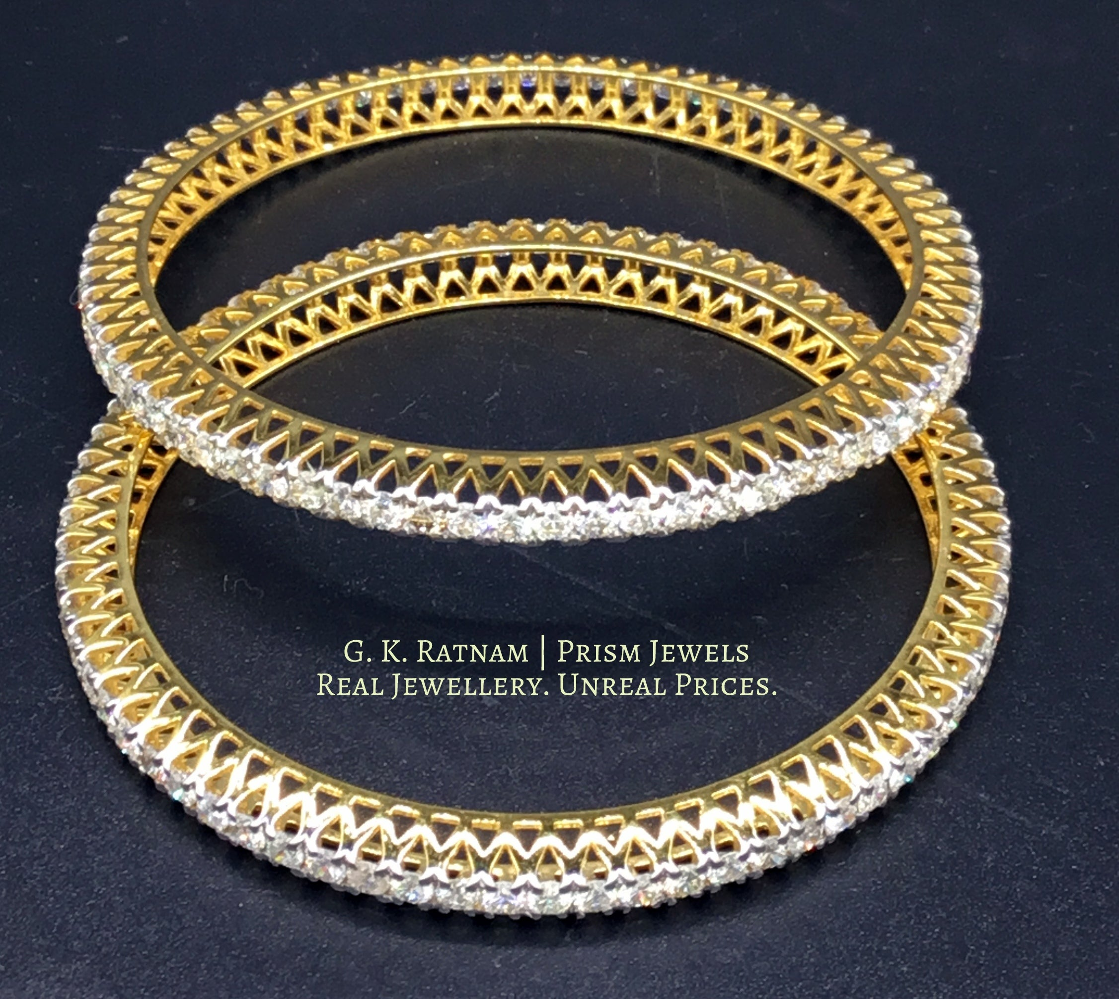 18k Gold and Diamond Bangle Pair with 11 cent diamonds - gold diamond polki kundan meena jadau jewellery