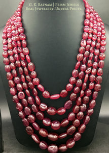 Natural (glass-filled) Ruby Tumbles 5 line Necklace - gold diamond polki kundan meena jadau jewellery