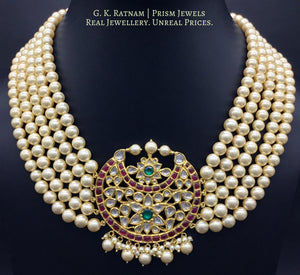 18k Gold and Diamond Polki south-style Pendant with five-lines of lustrous south-sea-like pearls - gold diamond polki kundan meena jadau jewellery