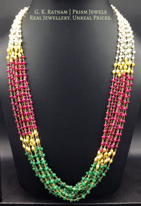 Pearl-ruby-beryl nine-line Necklace with a hint of golden beads - gold diamond polki kundan meena jadau jewellery