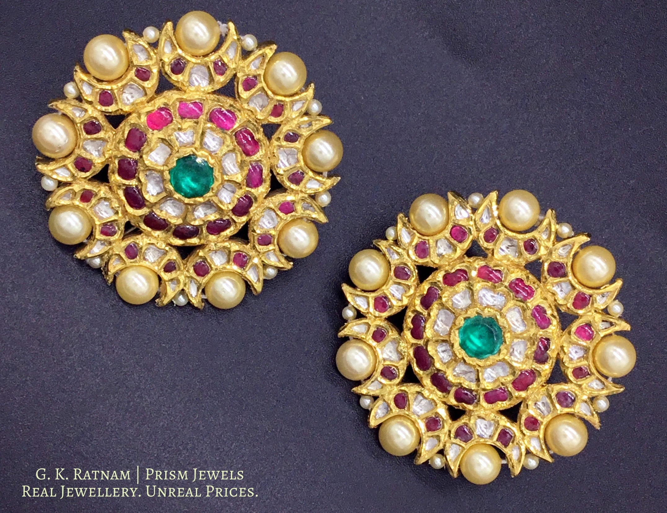 18k Gold and Diamond Polki south-style Karanphool Earring Pair with Rubies and Emeralds - gold diamond polki kundan meena jadau jewellery