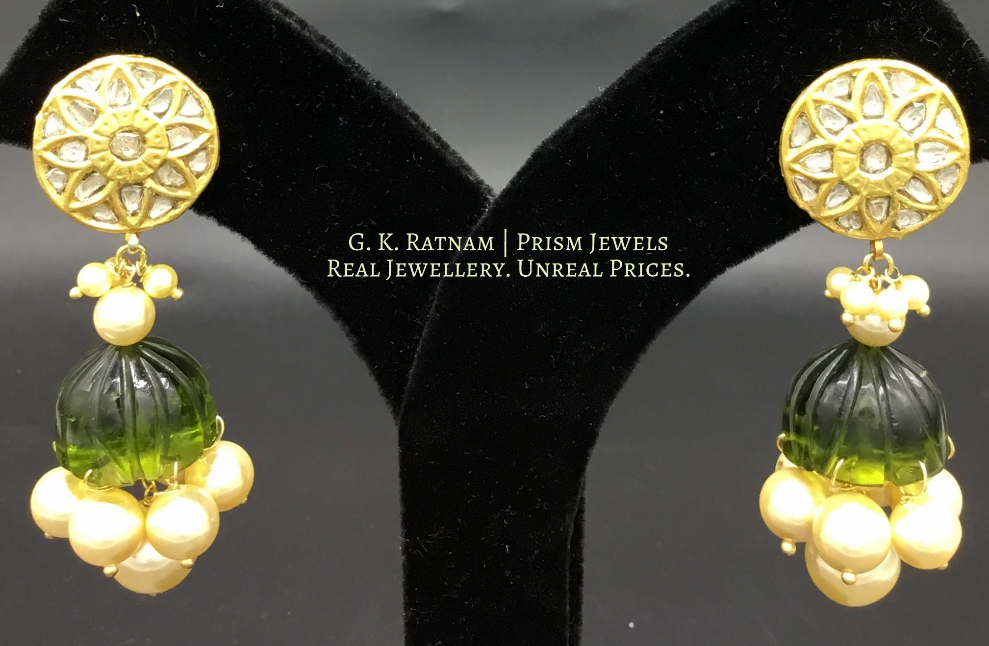 23k Gold and Diamond Polki Jhumki Earring Pair with peridot-green glass jhumkas - gold diamond polki kundan meena jadau jewellery