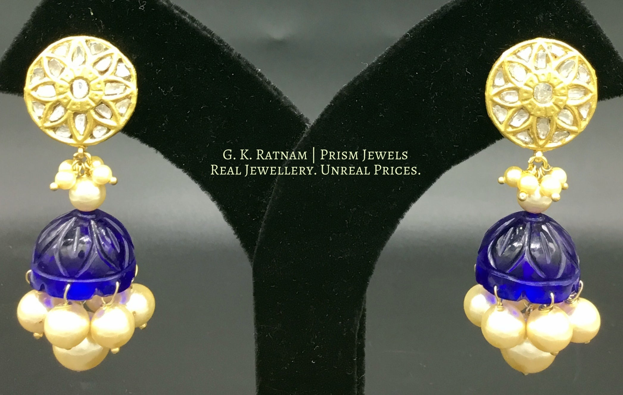 23k Gold and Diamond Polki Jhumki Earring Pair with royal blue glass jhumkas - gold diamond polki kundan meena jadau jewellery
