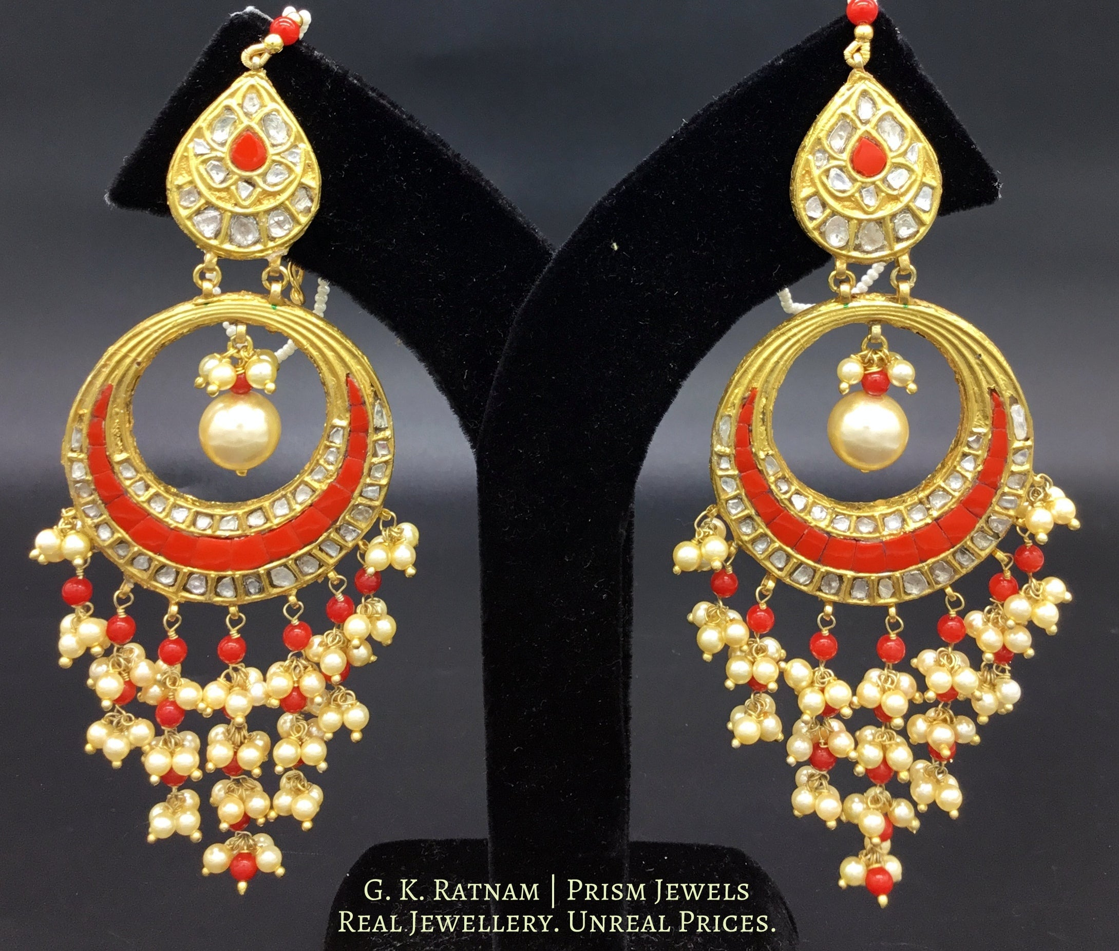 23k Gold and DIamond Polki Chand Bali Earring Pair with corals strung in chandelier style - gold diamond polki kundan meena jadau jewellery