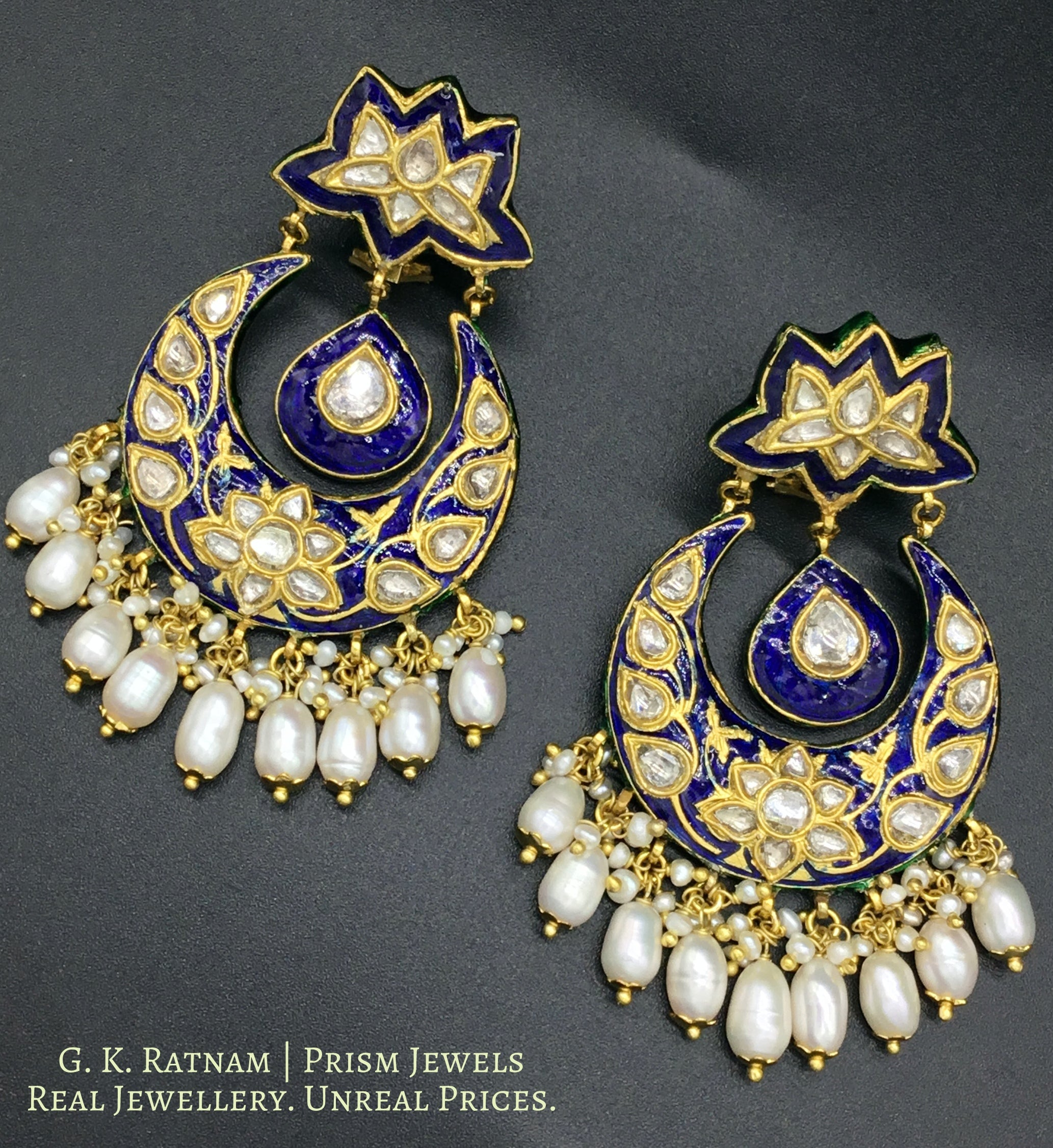 23k Gold and Diamond Polki Chand Bali Earring Pair with navy blue meenakari - gold diamond polki kundan meena jadau jewellery