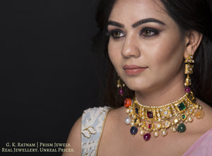 18k Gold and Diamond Polki Antique Navratna Choker Necklace Set - gold diamond polki kundan meena jadau jewellery