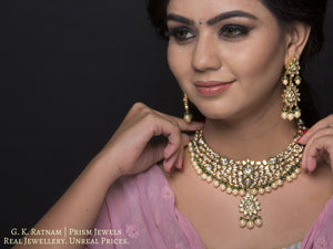 Traditional Gold and Diamond Polki green enamel Necklace Set with shiny pearls and a hint of green - gold diamond polki kundan meena jadau jewellery