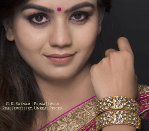 18k Gold and Diamond Polki Bangle Pair - gold diamond polki kundan meena jadau jewellery