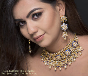 18k Gold and Diamond Polki Choker Necklace Set with elegant blue meenakari - gold diamond polki kundan meena jadau jewellery