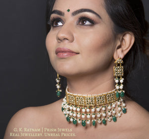 23k Gold and Diamond Polki Choker Necklace Set with emerald-green stones set with uncut diamonds - gold diamond polki kundan meena jadau jewellery