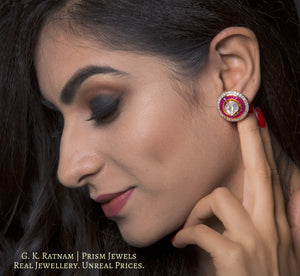 14k Gold and Diamond Polki Open Setting Tops / Studs Earring Pair with big uncuts encased in concentric ruby and diamond rims - gold diamond polki kundan meena jadau jewellery