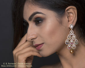 14k Gold and Diamond Polki Open Setting Long Earring Pair with Navratna Stones - gold diamond polki kundan meena jadau jewellery