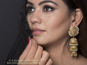 23k Gold and Diamond Polki three-tier Jhumki Earring Pair with pearls and a hint of green - G. K. Ratnam