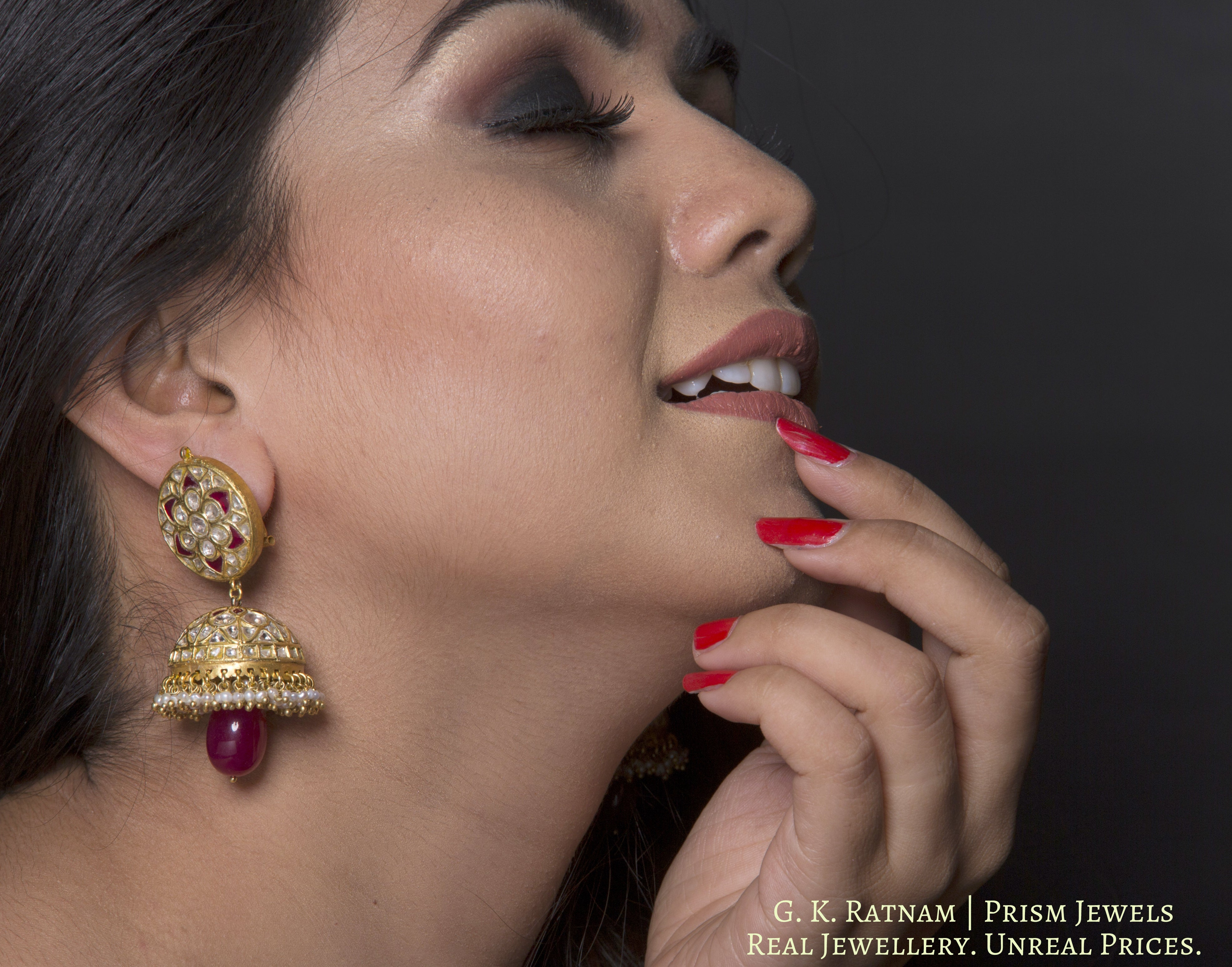 23k Gold and Diamond Polki red Jhumki Earring Pair with natural freshwater pearls - gold diamond polki kundan meena jadau jewellery