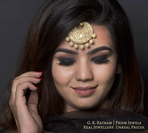 23k Gold and Diamond Polki Maang Tika enhanced with triple-coated shell pearls - gold diamond polki kundan meena jadau jewellery