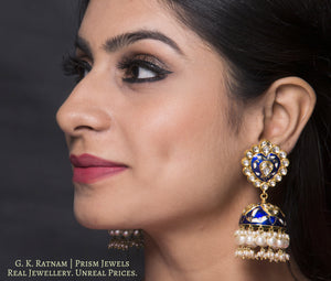 18k Gold and Diamond Polki blue enamel Jhumki Earring Pair with karanphools - gold diamond polki kundan meena jadau jewellery