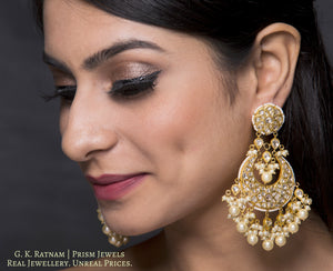 23k Gold and Diamond Polki Chand Bali Earring Pair with triple-coated shell pearls and cascading polkis - gold diamond polki kundan meena jadau jewellery