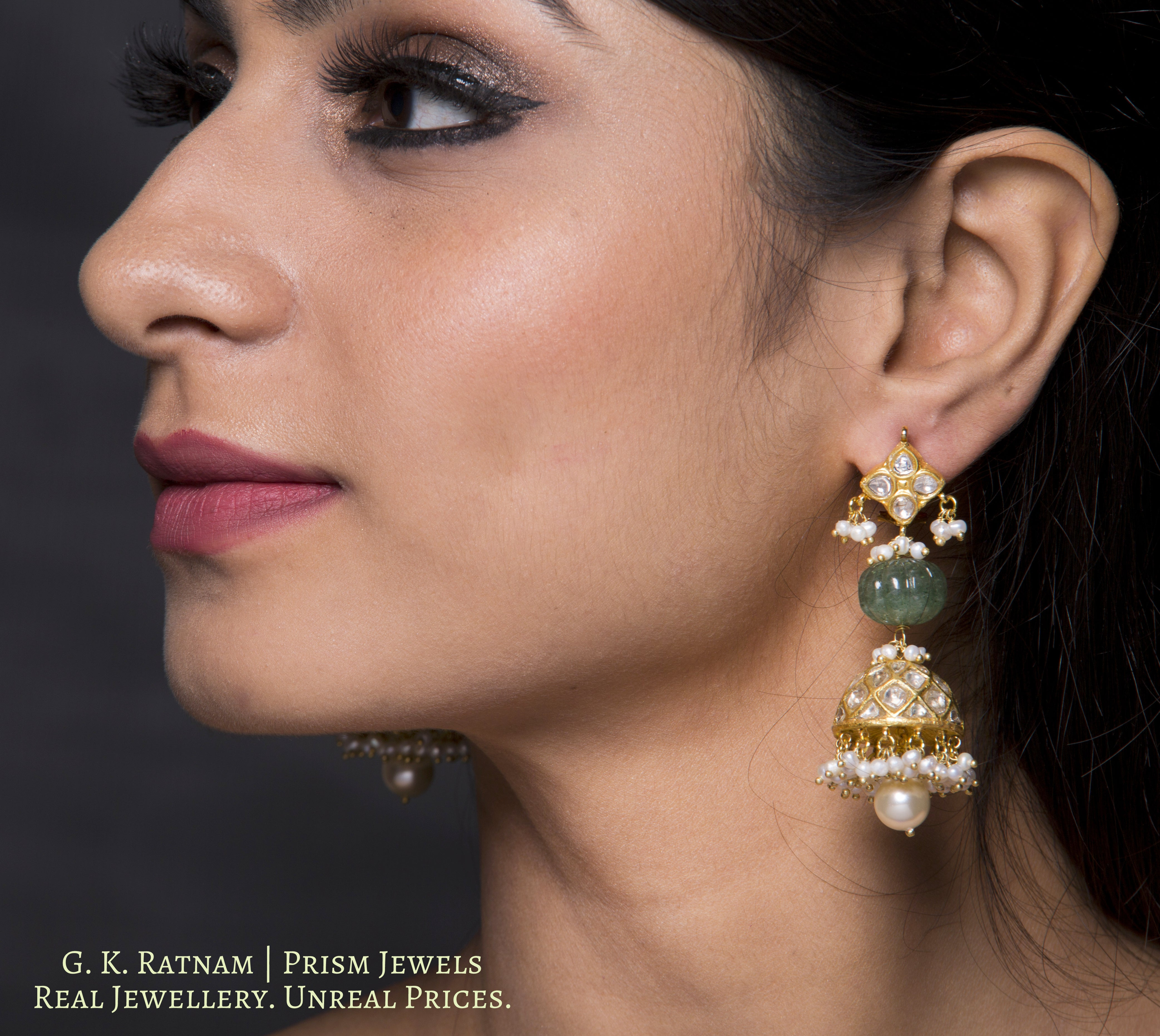 23k Gold and Diamond Polki Jhumki Earring Pair with Aventurine Quartz melons and natural hyderabadi pearls - gold diamond polki kundan meena jadau jewellery