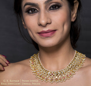 18k Gold and Diamond Polki south-style Necklace with Natural Freshwater Pearls - gold diamond polki kundan meena jadau jewellery
