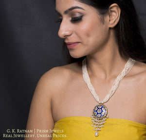 23k Gold and Diamond Polki round Pendant with fine blue and white pottery - gold diamond polki kundan meena jadau jewellery