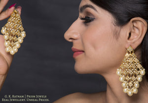 23k Gold and Diamond Polki kite-shaped Chandelier Earring Pair with lustrous pearls - gold diamond polki kundan meena jadau jewellery