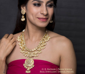 23k Gold and Diamond Polki Long Necklace Set with lustrous shell pearls - gold diamond polki kundan meena jadau jewellery