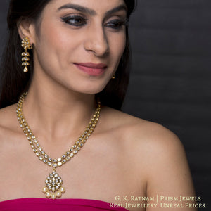 Traditional Gold and Diamond Polki two-line Necklace Set - gold diamond polki kundan meena jadau jewellery