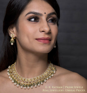 23k Gold and Diamond Polki Necklace Set with Natural freshwater pearls and a hint of green - gold diamond polki kundan meena jadau jewellery