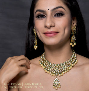 Traditional Gold and Diamond Polki green enamel Necklace Set with lustrous pearls and a dash of green - gold diamond polki kundan meena jadau jewellery