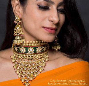 18k Gold and Diamond Polki Rajpooti Aad Choker Necklace Set with Natural Emeralds and Rubies - gold diamond polki kundan meena jadau jewellery