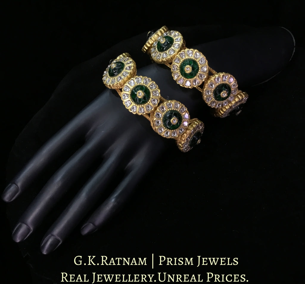 23k Gold and Diamond Polki Bracelet Pair (Paunchi / Ponchi) with emerald-grade Carved Stones
