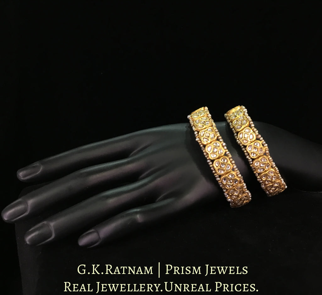 23k Gold and Diamond Polki Bracelet Pair (Paunchi / Ponchi) with Antiqued Freshwater Pearls