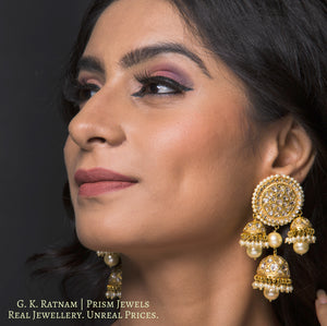 23k Gold and Diamond Polki pacchi Karanphool + 3 Jhumki Earring Pair with triple-coated shell pearls - gold diamond polki kundan meena jadau jewellery