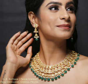 23k Gold and Diamond Polki Necklace Set with fishes and emerald-green melon shaped beads - gold diamond polki kundan meena jadau jewellery
