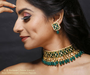 23k Gold and Diamond Polki Choker Necklace Set with green meenakari and emerald-grade green beryls - gold diamond polki kundan meena jadau jewellery