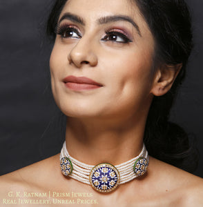 23k Gold and Diamond Polki Choker Necklace Set with exquisite blue pottery - gold diamond polki kundan meena jadau jewellery