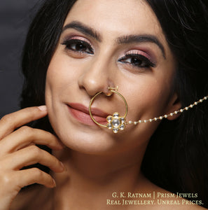 18k Gold and Diamond Polki floral Nose Ring with pearl chain support - gold diamond polki kundan meena jadau jewellery