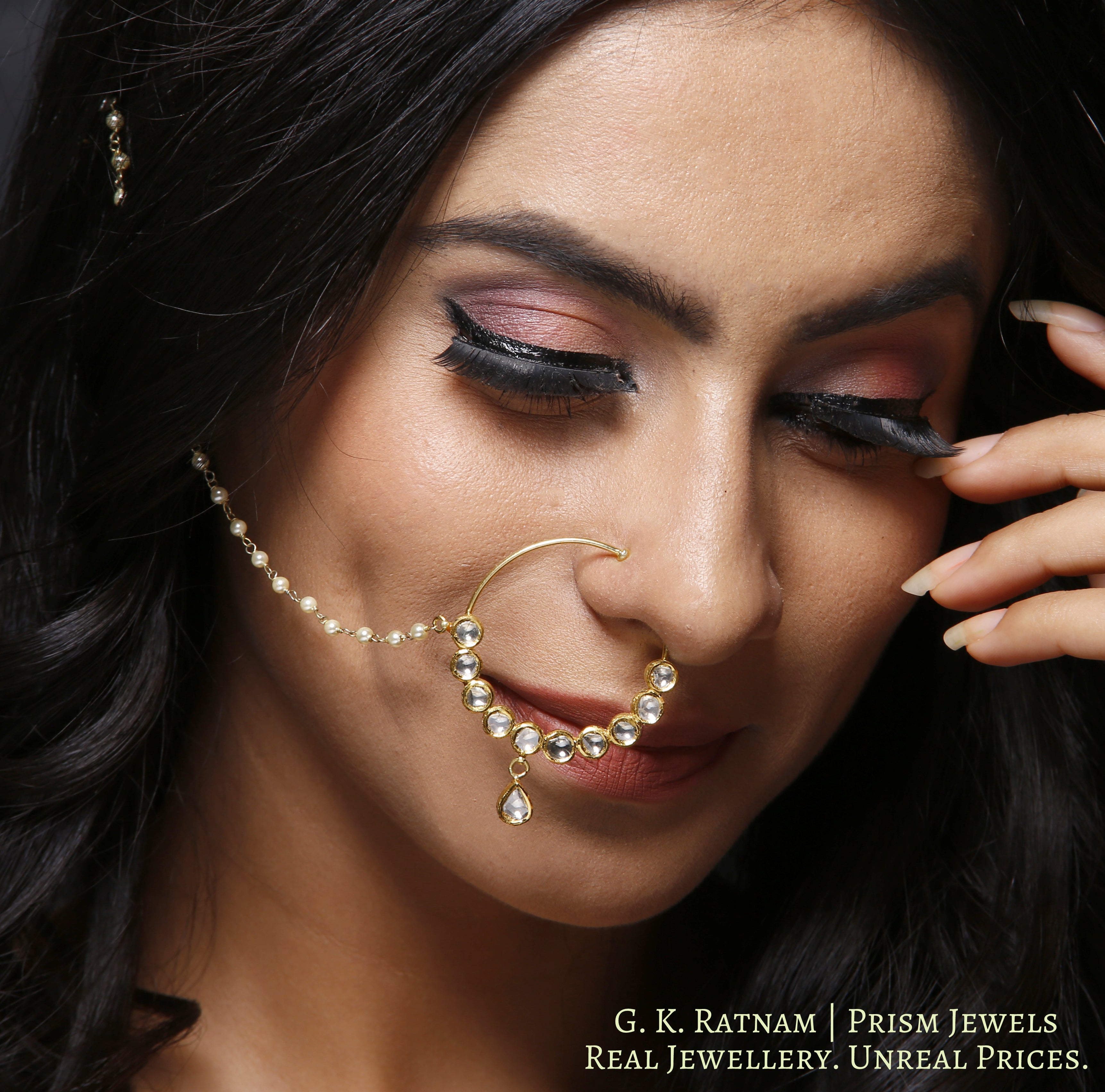 18k Gold and Diamond Polki Nose Ring with uncut rounds - gold diamond polki kundan meena jadau jewellery