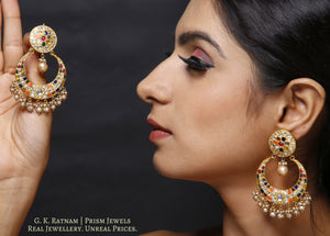 23k Gold and Diamond Polki Navratna Chand Bali Earring Pair with basra-grade hyderabadi pearls - gold diamond polki kundan meena jadau jewellery