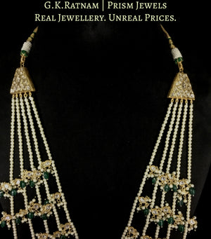 23k Gold and Diamond Polki Panch-Lad (five-row) Necklace with Green Beryls and Pearls
