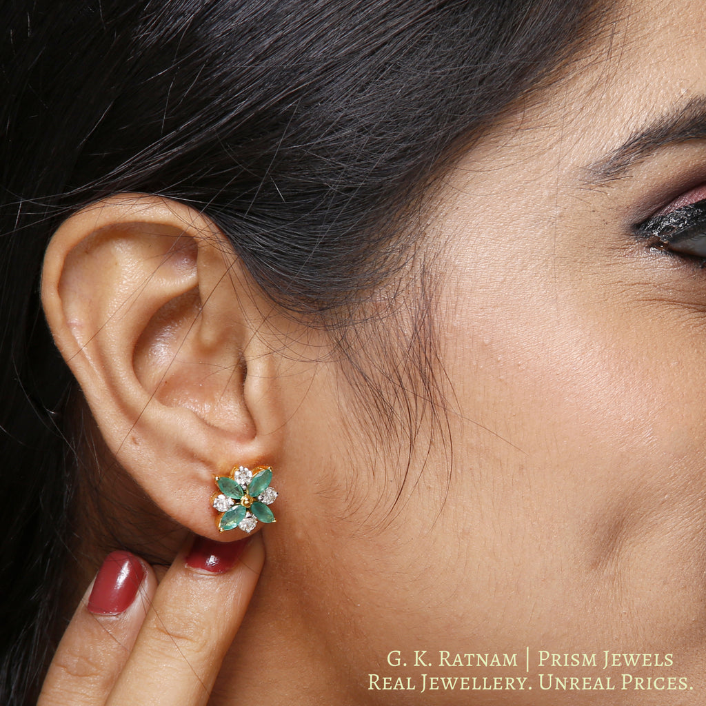 14k Gold and Diamond Tops / Studs Earring Pair with Emerald Marquises - gold diamond polki kundan meena jadau jewellery